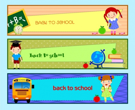 back to school banner sets colorful horizontal design