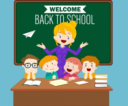 back to school banner teacher kids icons decoration