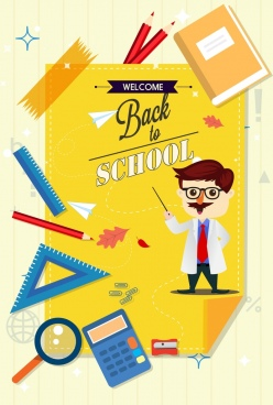 back to school banner teacher study icons decor