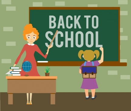 back to school banner writing schoolgirl colored cartoon