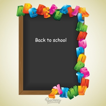 back to school black board with letters
