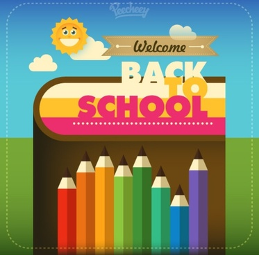 back to school colorful illustration