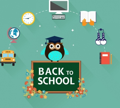 back to school design elements colored infographic design