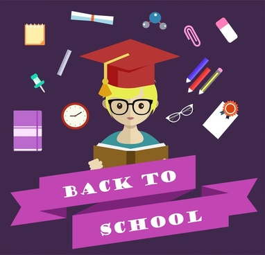 back to school design elements on dark background