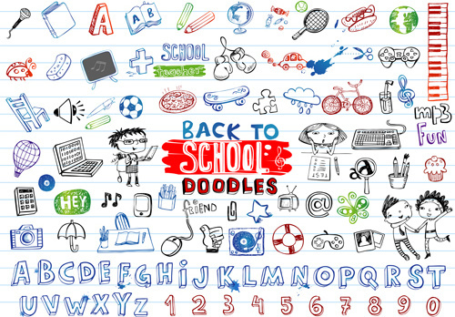 back to school doodles vector illustration