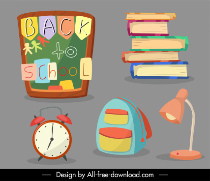 back to school elements educational objects sketch