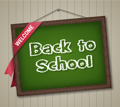 back to school illustration with text on chalkboard
