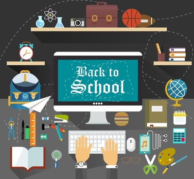 back to school infographic with learning tools illustration