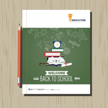 back to school leaflet template education symbols icons