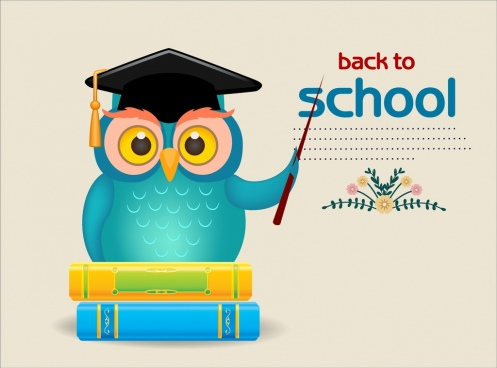 back to school poster wise owl icon decor