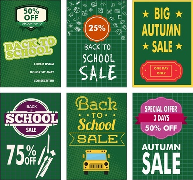 back to school sale banners design with green