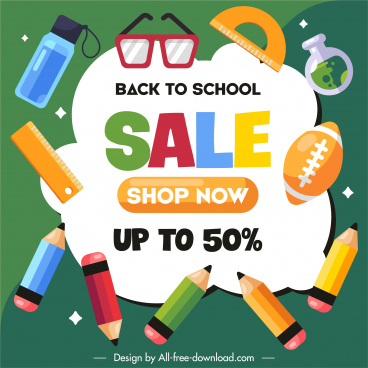 back to school sale poster colorful educational tools