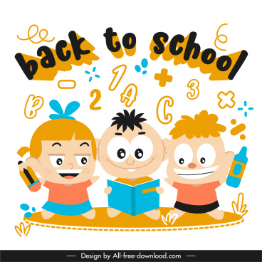 back to school template funny learning kids sketch