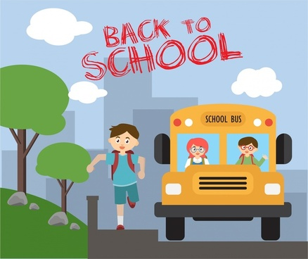 back to school theme boy and bus design