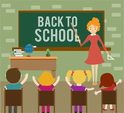 back to school theme teacher and pupils design