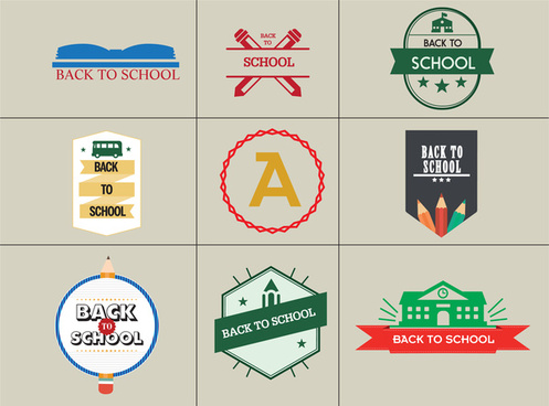 back to school vector illustration with colored logotypes