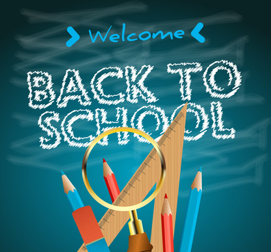 back to school welcome banner with tools illustration