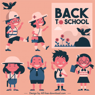 back too school banner cute schoolchildren sketch