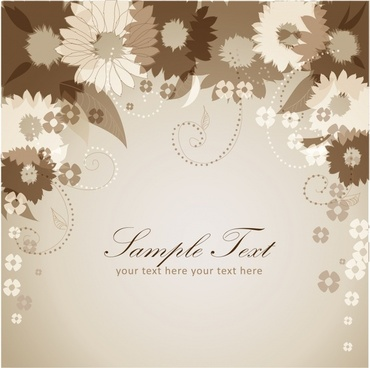 floral card background template elegant classic petals sketch