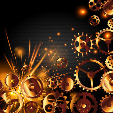 background vector design with cogwheels and sparkles