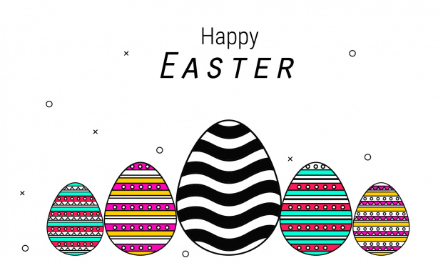 background with eggs hat and landscape vector illustration happy easter greeting card