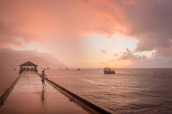backlit beach coast dusk evening leisure morning