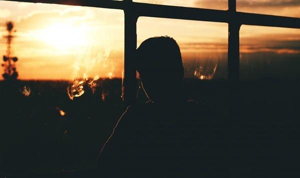 backlit dark evening light man morning night