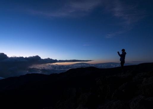 backlit dawn desert dusk evening hiking landscape