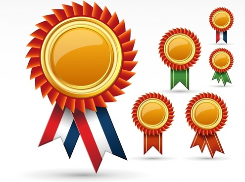 decorative medal badge templates shiny elegant shapes