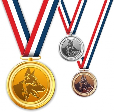 medal template dog icon sketch colored modern design