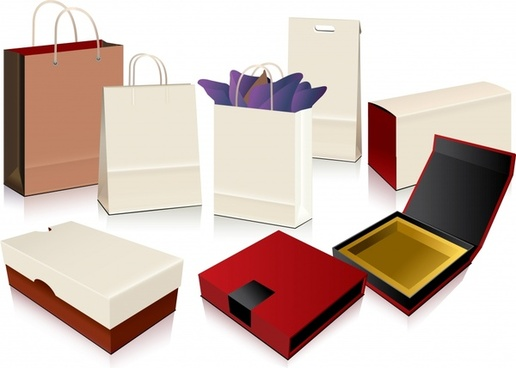 shopping design elements bags boxes icons 3d design