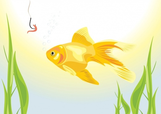 goldfish painting bright colored modern sketch