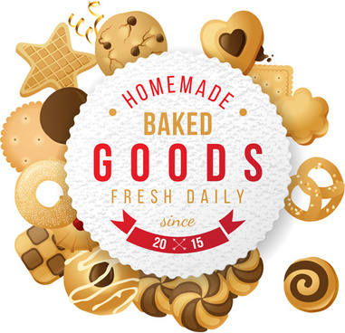 baked goods cookie background vector