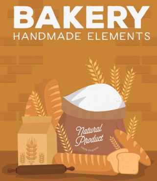 bakery advertisement bread flour cereal icons decor