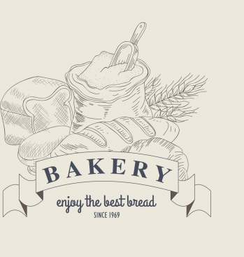 bakery advertisement flour bread ribbon icons classical design