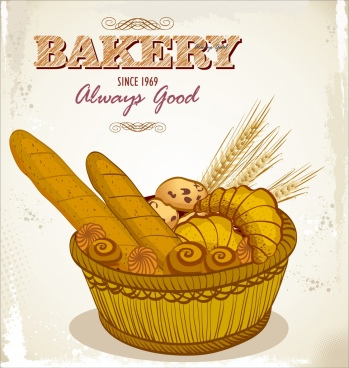 bakery advertising bread basket icons retro design