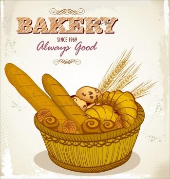 bakery advertising bread basket icons retro design