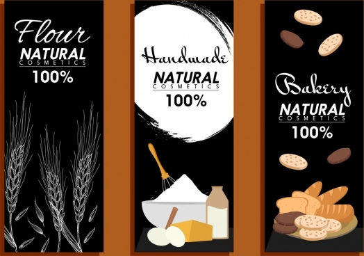 bakery banner templates black vertical design
