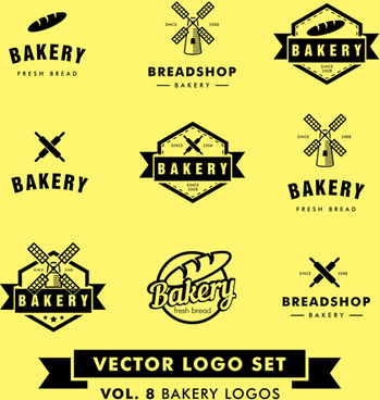 bakery black logos vector