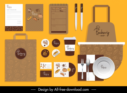 bakery brand identity sets classic brown cakes sketch