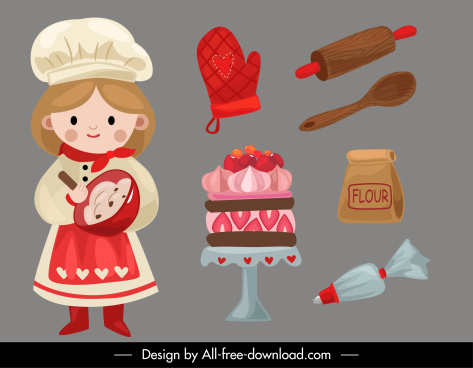 bakery design elements cute girl tools elements