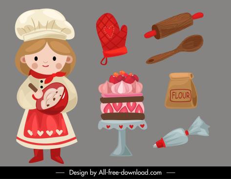 bakery design elements cute girl tools elements
