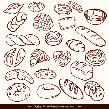 bakery design elements handdrawn classic cakes bread sketch