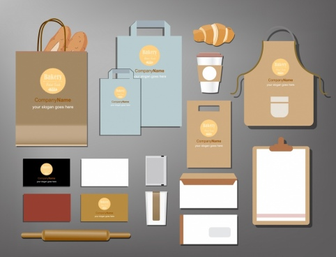 bakery identity icons envelope apron appliance icons