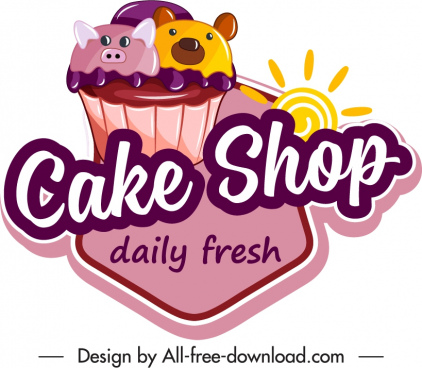 bakery label template creaming cupcake decor colorful flat