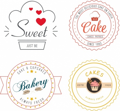 bakery logo collection classical flat sketch