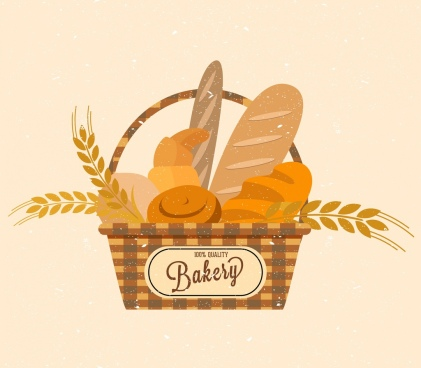 bakery logo design bread basket barley icons decor