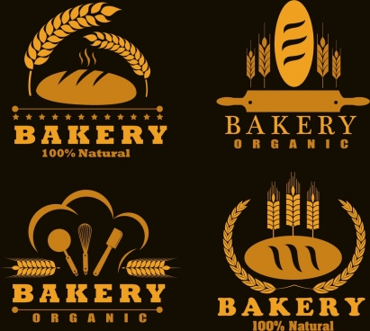 bakery logotypes bread barley icons dark yellow design