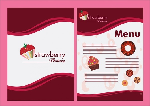 bakery menu design with strawberry on red background