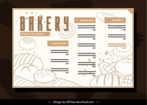 bakery menu template bright retro handdrawn sketch